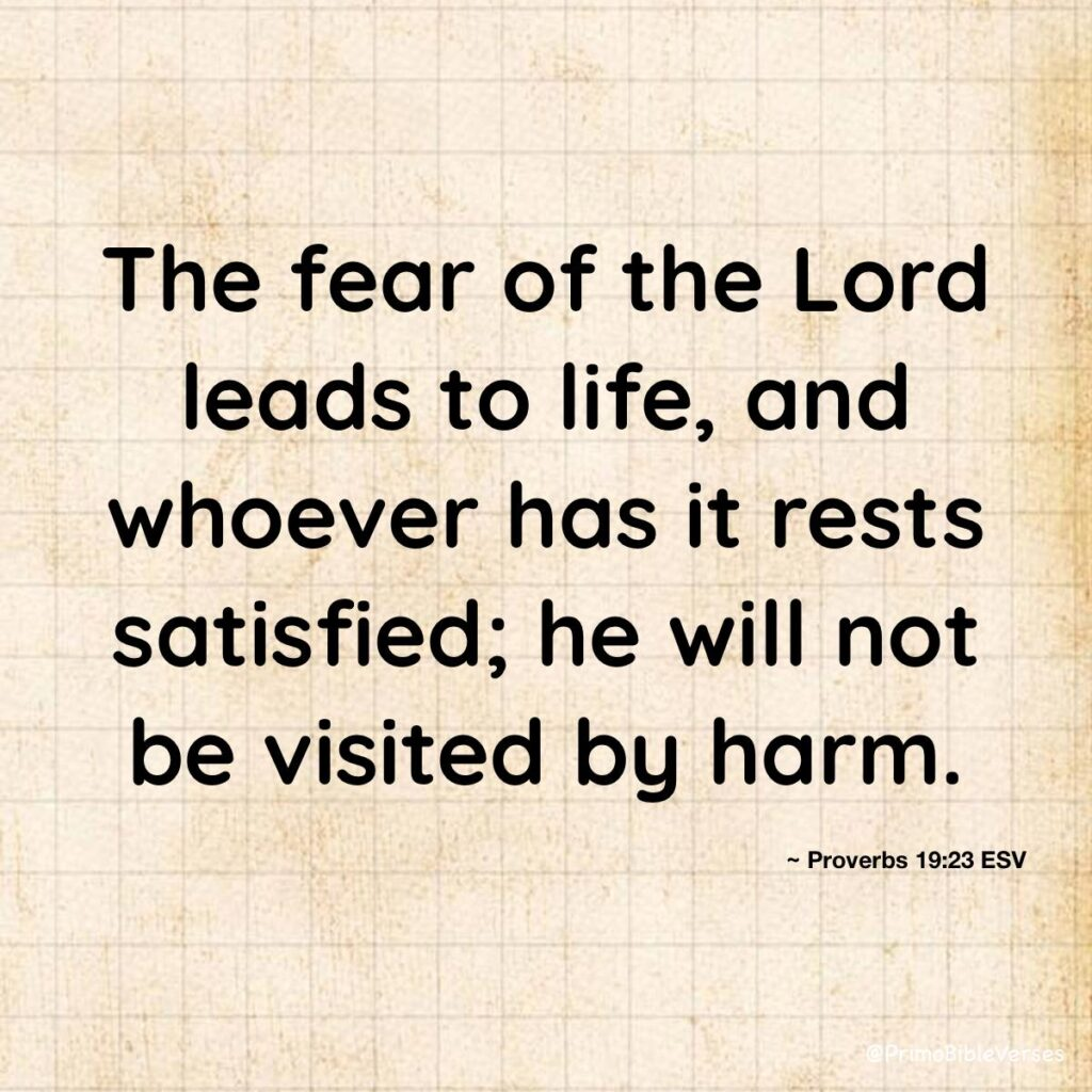 """""""The fear of the Lord leads to life, and whoever has it rests satisfied; he will not be visited by harm."""" ~ Proverbs 19:23 ESV"""